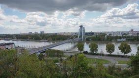 UFO-Brücke in Bratislava Stockfotos