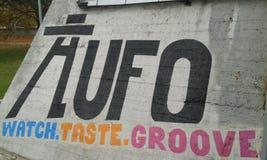 UFO Bridge. Bratislava. Gaffiti. Watch. Taste. Groove Royalty Free Stock Photos