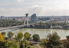UFO Bridge in Bratislava, Slovakia. Cityscape with Danube river and SNP New bridge or UFO Bridge in Bratislava, Slovakia Stock Photo