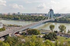 UFO Bridge in Bratislava, Slovakia. Cityscape with Danube river and SNP New bridge or UFO Bridge in Bratislava, Slovakia Stock Photography