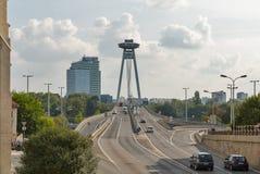 UFO Bridge in Bratislava, Slovakia. Cityscape with Danube river and SNP New bridge or UFO Bridge. Bratislava is one of the smaller capitals of Europe but still Stock Photos