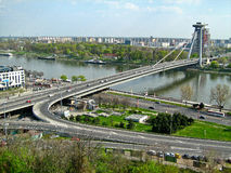UFO Bridge, Bratislava, Slovakia. Novy Most Bridge over Danube river in Bratislava, Slovakia Royalty Free Stock Image