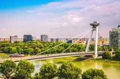 UFO bridge over Danube river in Bratislava. Slovakia royalty free stock images