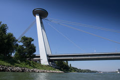 UFO Bridge. Sight of Bratislava Stock Images