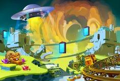 UFO budowa niektóre Dziwaczni portale nad Przyschnięty klejnot Minuje teren ilustracja wektor