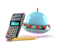 UFO with calculator and pencil stock image