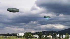 UFO che sorvola una citt? illustrazione di stock