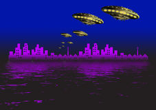 Ufo and city Stock Image