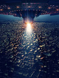 Ufo is on the city, 3d rendering. The imaginary UFO is modelled and rendered royalty free illustration
