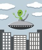 UFO in the city Royalty Free Stock Photos