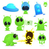 Ufo collection. Collection of cartoon aliens, monsters and spaceships Royalty Free Stock Photos