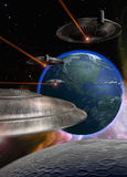 Ufo coming. A few ufos, flying over the Moon and  approaching from the Earth Royalty Free Stock Photography