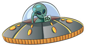 UFO Confused. Cartoon illustration of a UFO confused Royalty Free Stock Photo