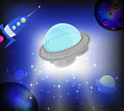 UFO on cosmic bright background Royalty Free Stock Photography