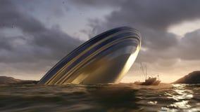 UFO crash into a sea stock footage