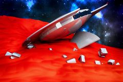 UFO crashed on the surface of a red planet Stock Photography