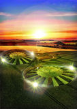 Ufo crop circle. Two ufo crop circles with alien lights at sunset stock illustration