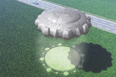 Ufo crop circle. A ufo with a crop circle in background royalty free illustration