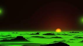 UFO d'ardore e foschia verde archivi video