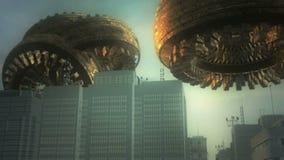UFO 3d y ciudad Imagenes de archivo