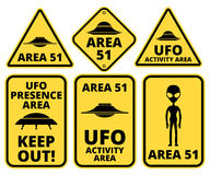 Ufo danger. UFO, Aliens and Area 51 danger warning road signs vector collection Royalty Free Stock Photo