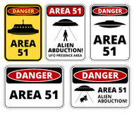 Ufo danger. UFO, Aliens and Area 51 danger warning road signs vector collection stock illustration