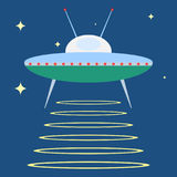 UFO dans l'espace, un plat d'UFO illustration stock