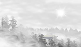 UFO dans un paysage de forêt brumeuse au lever de soleil Photographie stock