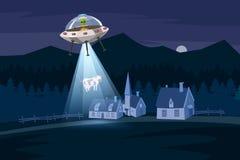 UFO, das eine Kuh, Sommernachtbauernhoflandschaft, auf dem Nachtgebiet mit Häusern, Vektorhintergrund mit Sternen und Mond entfüh stock abbildung