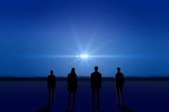 UFO in de hemel Stock Afbeeldingen