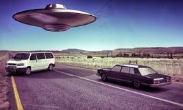 Ufo in de woestijn Royalty-vrije Stock Fotografie