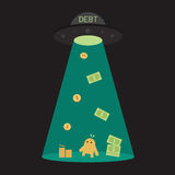 UFO debt cut or steal your money budget, business. Concept. your can change text to TAX, INTEREST or something Stock Images