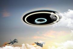 UFO dedicado por las fuerzas militares ilustración del vector