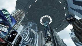 UFO del extranjero sobre Time Square Nueva York Manhattan representación 3d Fotografía de archivo libre de regalías