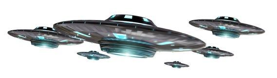 UFO del vintage aislado en la representación blanca del fondo 3D Foto de archivo