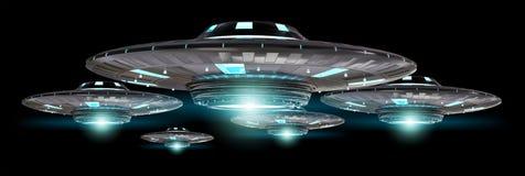 UFO del vintage aislado en la representación negra del fondo 3D Imagen de archivo
