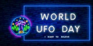 UFO dell'insegna al neon dello spazio Retro neon Concetto cosmico del modello di progettazione di tema Progettazione al neon del  royalty illustrazione gratis