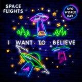 UFO dell'insegna al neon dello spazio Retro neon Concetto cosmico del modello di progettazione di tema Progettazione al neon del  illustrazione vettoriale