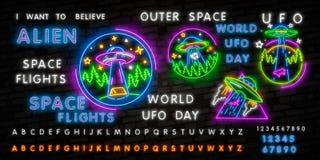 UFO dell'insegna al neon Retro insegna al neon del disco volante su fondo scuro Aspetti per la vostra progettazione, l'icona, ins illustrazione vettoriale