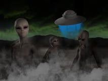 UFO dello straniero, stranieri, illustrazione dell'astronave Fotografie Stock Libere da Diritti