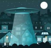 UFO die over de nachtstad vliegen stock illustratie