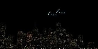 Ufo die over een reusachtige stad vliegen stock illustratie