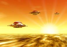 UFO e sol ilustração stock
