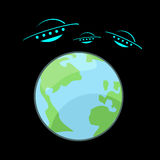 UFO and Earth illustration Royalty Free Stock Photo