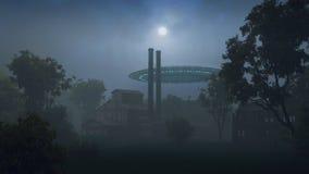UFO en bosque de la noche Stock de ilustración