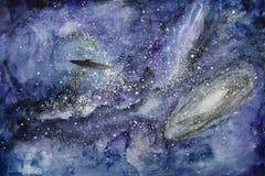 UFO en la pintura del espacio Imagenes de archivo