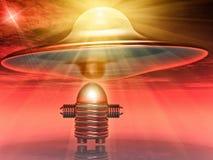 UFO en robot vector illustratie