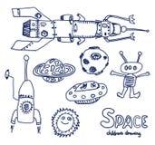 UFO en ruimteschets Stock Foto