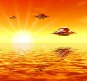 Ufo en zonnige stralen royalty-vrije illustratie