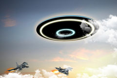 Ufo engaged by military forces Stock Image